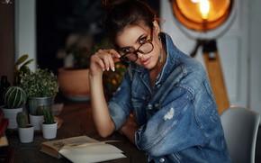 Picture look, hand, glasses, book, cacti, dzhinsovka, Xenia, Dmitry Arhar