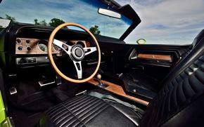 Picture Dodge Challenger, muscle car, 1970, interior, Hemi, convertible car, gauges