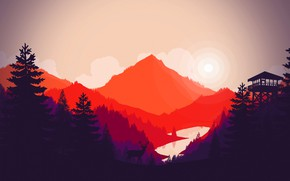 Picture tower, vector, lake, mountains, silhouette, trees, deer