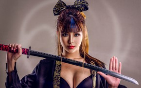 Wallpaper Asian, chest, bow, katana, sword, palm, background, look, style