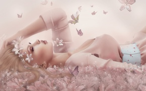 Picture girl, butterfly, flowers, face