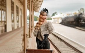 Wallpaper girl, station, railroad