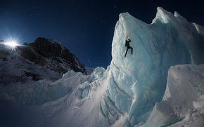 Wallpaper the sky, light, mountains, night, rocks, the moon, people, ice, glacier, climber, climbing