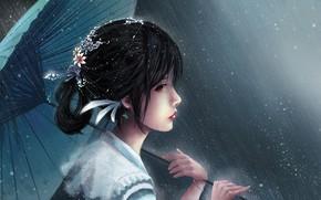 Picture girl, umbrella, art