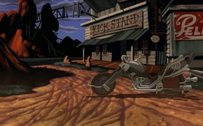 Picture motorcycle, gas, bike, chopper, full, full, tavern, full throttle, quest, remastered, wasteland, quest, throttle