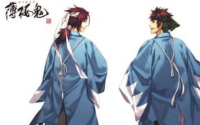 Picture smile, back, white background, headband, cloak, art, samurai, demons pale cherry, hakuouki shinsengumi kitano, yone …