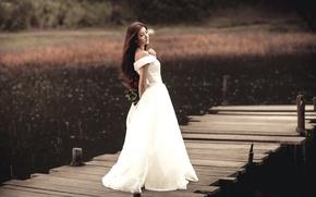 Picture girl, bridge, lake, roses