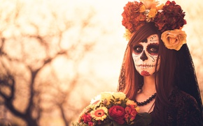 Picture flowers, makeup, makeup, Day of the dead
