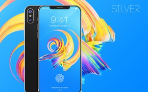 Picture Apple, iPhone, silver, hi-tech, smartphone, technology, iPhone X