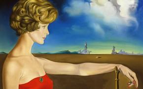 Picture surrealism, picture, Salvador Dali, Salvador Dali, Portrait of a Young Woman in a Landscape