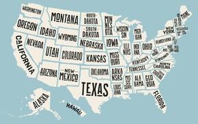 Wallpaper USA, map, states