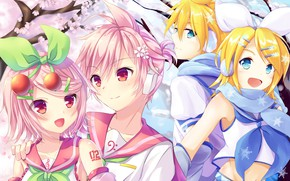 Picture flowers, spring, anime, art, Vocaloid, Vocaloid, characters