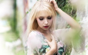 Picture summer, girl, face, hair, blur