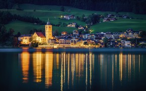 Wallpaper river, the evening, lights, shore, trees, home, St. Wolfgang, nature, Austria, field