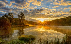 Picture nature, lake, sunrise, morning