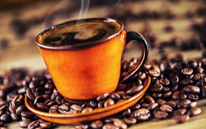 Picture coffee, grain, Cup, hot, cup, beans, coffee
