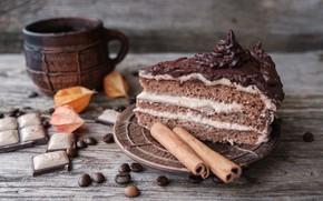 Picture coffee, chocolate, grain, Cup, cake, cinnamon, cake, cream, dessert, cup, piece, chocolate, beans, coffee