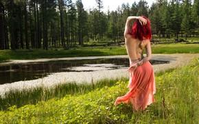 Picture nature, pose, model, back, swamp, skirt, tattoo, Topless, Djennipher Geneva Goodacre