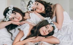 Picture look, pose, girls, mood, girls, hands, face, trio, wreaths, Yana Levchenko