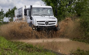 Picture white, the sky, clouds, squirt, vegetation, Mercedes-Benz, puddle, dirt, truck, 6x6, Unimog, U5000