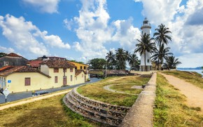 Wallpaper clouds, tropics, the sky, the sun, lighthouse, Sri Lanka, Galle fort, palm trees