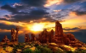 Picture the sky, the sun, clouds, landscape, sunset, clouds, nature, stones, rocks, paint, desert, heat, plants, …