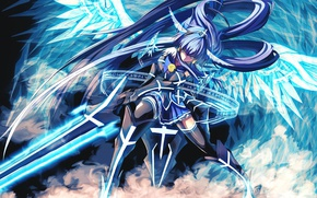 Picture girl, sword, armor, blue, anime, wings, beautiful, ken, angel, blade, asian, warrior, japanese, asiatic, powerful, …