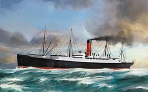 Picture wave, ship, Transatlantic Ships, carpathia