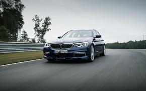 Picture asphalt, movement, overcast, BMW, 4x4, universal, Alpina, 4WD, Combi, dark blue, 2017, G31, V8 Biturbo, …