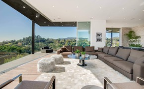 Picture glass, Villa, interior, living room