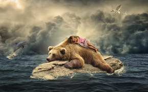 Picture sea, birds, Dolphin, seagulls, sleep, the situation, bear, girl, log, sleeping girl