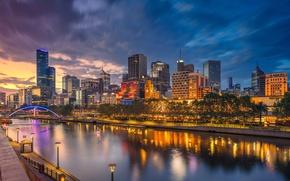 Picture night, bridge, lights, home, Australia, arch, Melbourne