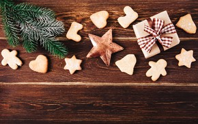 Picture tree, New Year, cookies, Christmas, gifts, happy, Christmas, wood, New Year, Merry Christmas, Xmas, gift, …