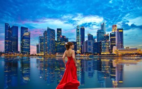 Picture girl, the city, dress