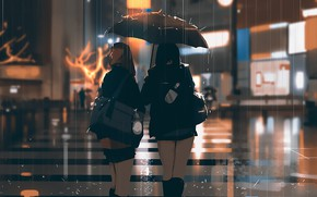 Picture rain, street, the evening, Japan, lights, bag, Schoolgirls, wet asphalt, keychain, friend, crosswalk, from the …