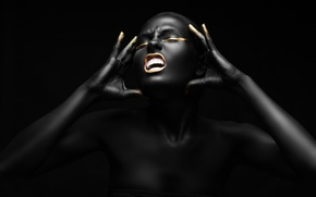 Picture golden, female, Fashion, black, make-up, pose