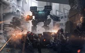 Picture the city, fiction, war, robot, destruction, soldiers, street, squad