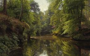 Picture nature, picture, Peter Merk Of Menstad, Peder Mørk Mønsted, Forest Landscape with River
