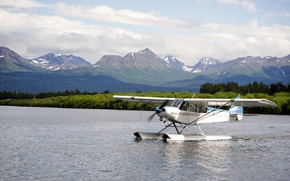 Wallpaper clouds, river, landscape, seaplane, on the water, mountains