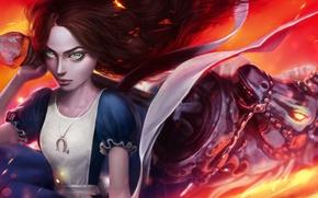 Picture look, girl, hair, horse, dress, unicorn, art, alice, Alice: Madness Returns