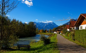 Picture road, autumn, forest, the sky, grass, the sun, clouds, trees, mountains, bench, river, home, Germany, ...