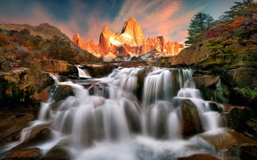 Wallpaper sunset, stones, rocks, stream, trees, waterfall, mountains, Patagonia, Argentina