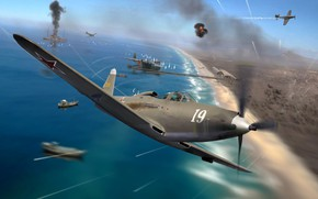 Picture painting, Bell, WW2, Kingcobra, P-63, THE RED ARMY AIR FORCE, fighter - bomber