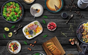 Wallpaper pie, grapes, food, fruit, bread, berries, salad, coffee, figs, vegetables