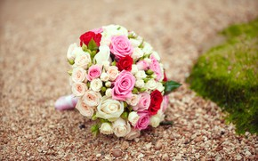 Picture flowers, roses, bouquet, pink, white, pink, flowers, bouquet, roses, wedding, wedding