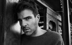 Picture look, photo, actor, black and white, Zachary Quinto, Zachary Quinto, jumper, Interview, Michael Schwartz