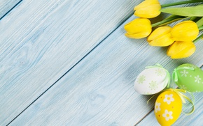Picture Easter, tulips, yellow, wood, tulips, spring, Easter, eggs, decoration, Happy, tender, the painted eggs