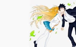 Picture girl, romance, anime, art, guy, two, Nisekoi, Feigned love