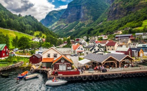 Wallpaper village Undredal, trees, Norway, pier, houses, boats, the Aurlandsfjord