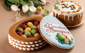 Picture flowers, Easter, dessert, cake, Verba, cakes